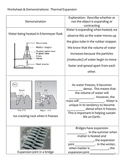 Middle School Physical Science Worksheet - Heat, Density, and Thermal Expansion