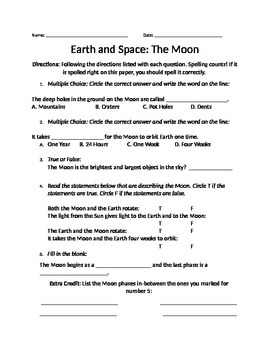 Science- Worksheet on The Moon