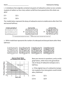 Science Worksheet/Quiz - Radioactive Dating Techniques (9 - 12)