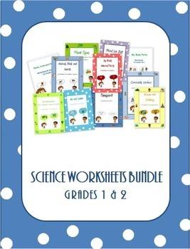Science Worksheets Bundle for Grade 1 and 2