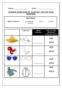 Science Worksheets: Clothes: Hot or Cold Weather