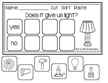 Science Worksheets - Cut  Sort  Paste
