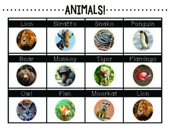 Science Writing Center Activities: ANIMALS!