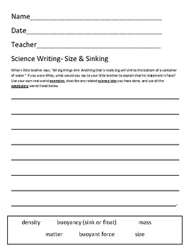 Science Writing- Density/Sinking & Floating
