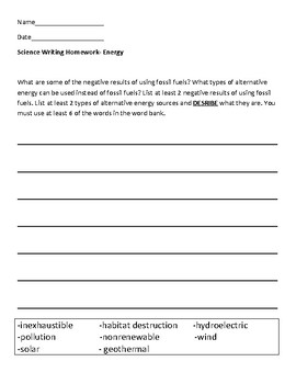 Science Writing- Fossil Fuels/Alternative Energy