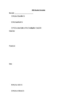 Science Writing Heuristic Approach Lab Template