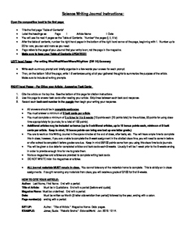 Science Writing Journals - Student Handout