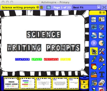 Science Writing Prompts for Promethean board