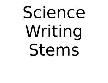 Science Writing Stems - Poster and Bookmark