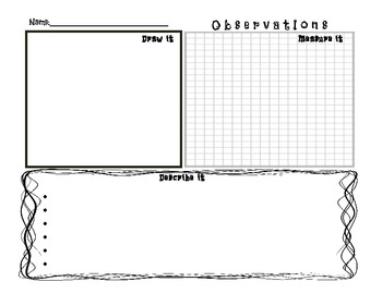 Science, Writing and the Great Outdoors:  Observation Graphic Organizers
