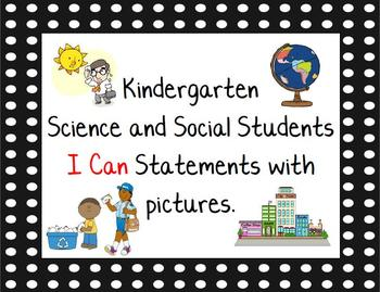 Science and Social Studies I Can Statements for Kindergarten