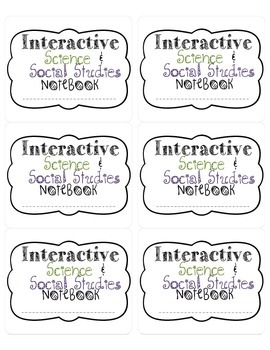 Science and Social Studies Interactive Notebook Lables