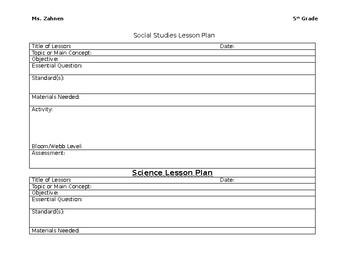 social studies lesson plan template