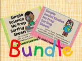 Science and Social Studies No Prep Sorting Sheets: BUNDLE!!