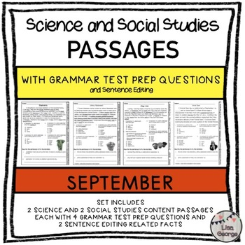 Science and SS Passages with Grammar Test Prep Questions