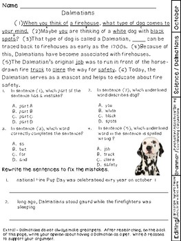 Science and SS Passages with Grammar Test Prep Questions October