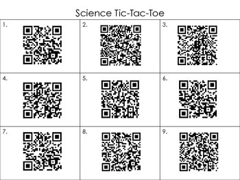 Science and Social Studies Tic-Tac-Toe using QR codes
