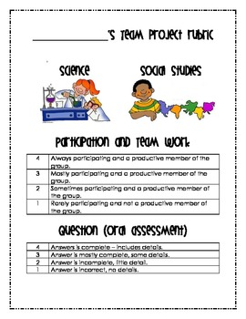 Science and Social Studies group project rubrics *UPDATED*