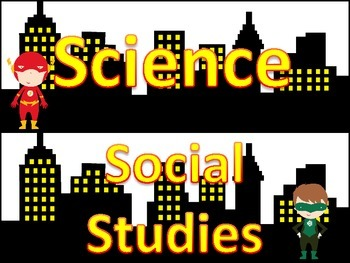 Science and Social Studies labels - Justice League/Superman