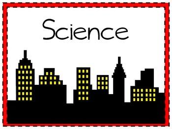 Science and Social Studies labels - Justice League/Superman