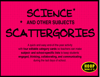 Science (and other subjects) Scattergories End of Year Game