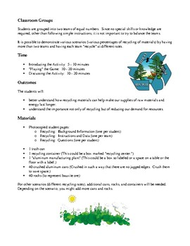 Science and the Environment Lesson Plans - Recycling