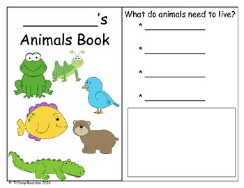 Science animal groups fill-in book