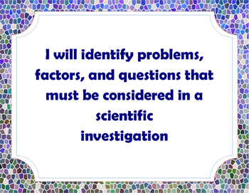 Science as Inquiry Louisiana 6-8th Grade GLE Posters