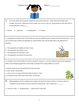 Science at a Glance - 4th Grade Common Exam Questions