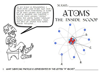 Science atoms atomic structure parts of an atom worksheet QR codes jr. high