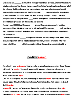 Science-based KS2/KS3 VCOP/Comprehension Worksheets - Earthquakes