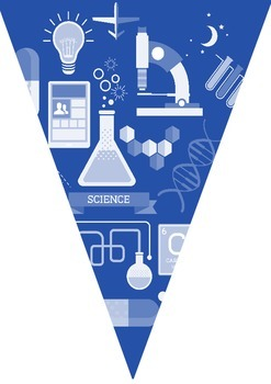 Science decoration -  bunting (blue)