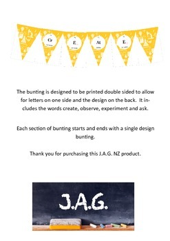 Science decoration -  bunting (yellow)