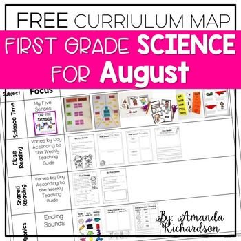 Science for August Curriculum Map FREE