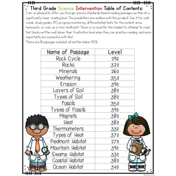 Third Grade Science Reading Passages & Questions for Struggling Readers