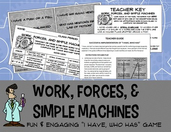 """Science game """"I Have, Who Has"""" work forces simple machines Newton's Laws Physics"""
