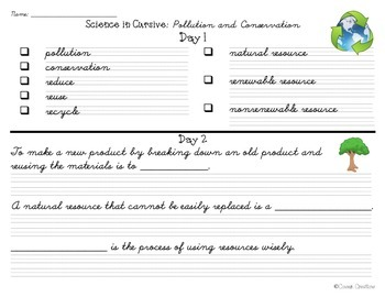 Science in Cursive 3rd Grade Georgia Vocabulary