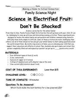 Science in Electrified Fruit: Don't Be Shocked! Family Science Experiment