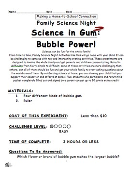 Science in Gum 1 & 2: Family Science Experiment Night Project BUNDLE