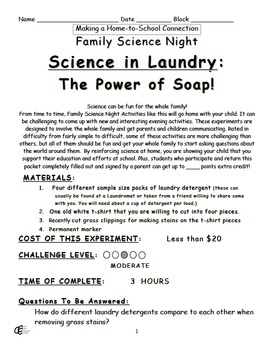 Science in Laundry - The Power of Soap Family Home Science Project