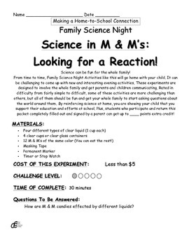 Science in M & M's: Looking for a Reaction! Family Science Experiment