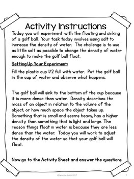 Science in a Bag: Floating Golfball and Density