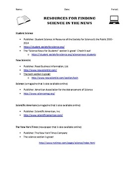 Science in the News: Annotated Bibliography Form