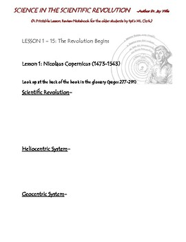 Science in the Scientific Revolution Notebook for the older Sections 1-3