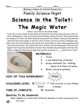 Science in the Toilet: The Magic Water Family Science Experiment