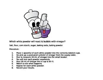 Science inquiry- White Powders and Vinegar Lab