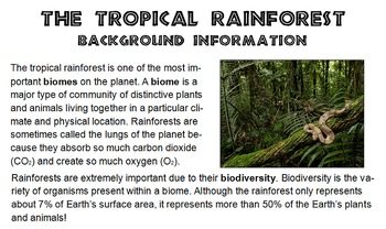 Science interactive notebook rainforest biome adaptation close reading QR code