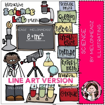 Science lab clip art - LINE ART- by Melonheadz