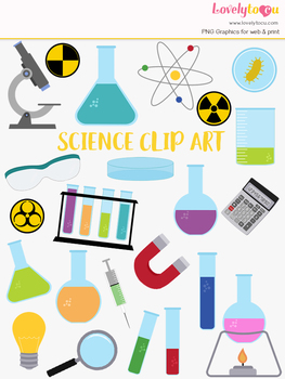 Science lab clipart, chemistry biology class clip art (LC55)