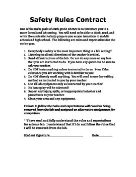Science lab rules and contract